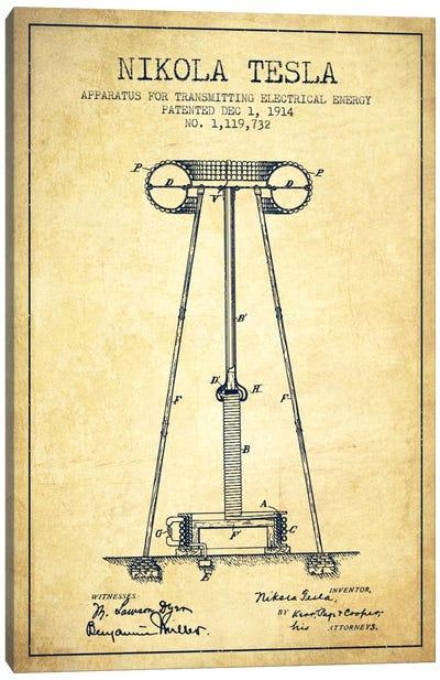 Tesla Apparatus Energy Vintage Patent Blueprint Canvas Art Print