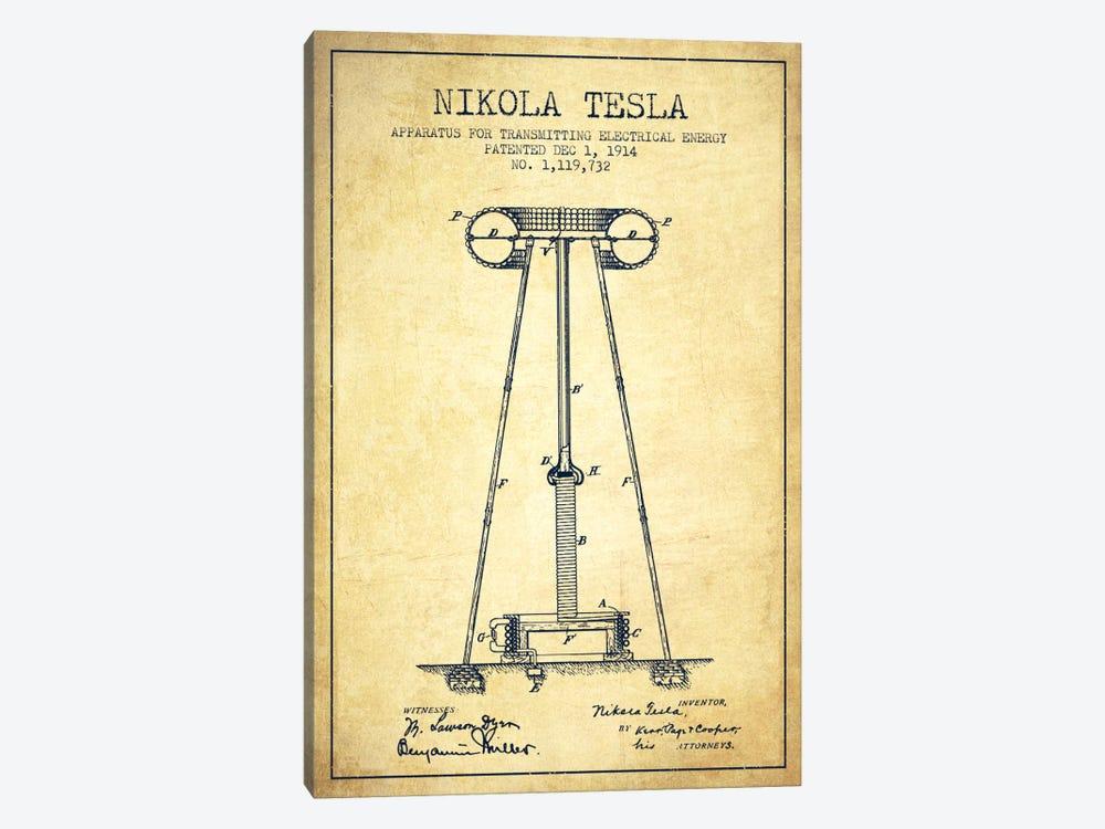 Tesla Apparatus Energy Vintage Patent Blueprint by Aged Pixel 1-piece Canvas Artwork