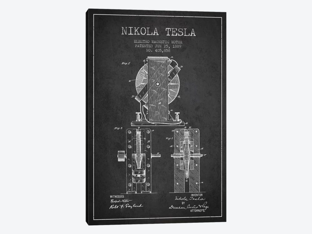 Electro Motor Charcoal Patent Blueprint 1-piece Canvas Print