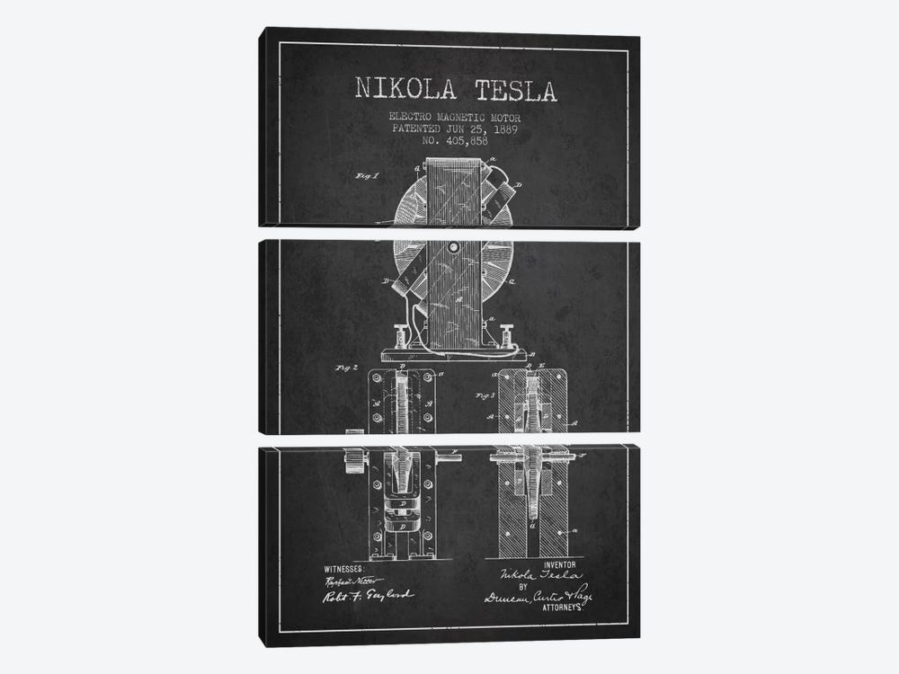 Electro Motor Charcoal Patent Blueprint 3-piece Canvas Print