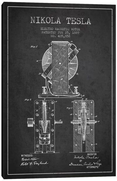 Electro Motor Charcoal Patent Blueprint Canvas Art Print