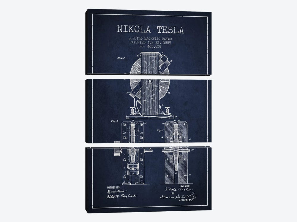 Electro Motor Navy Blue Patent Blueprint by Aged Pixel 3-piece Art Print