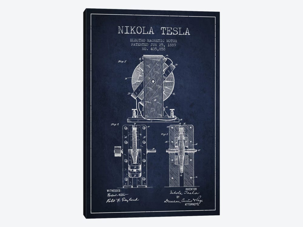 Electro Motor Navy Blue Patent Blueprint by Aged Pixel 1-piece Canvas Art Print
