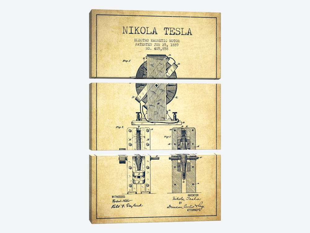 Electro Motor Vintage Patent Blueprint 3-piece Canvas Wall Art