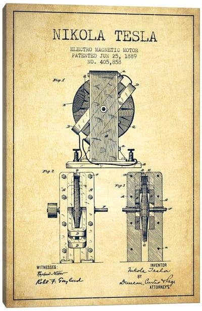 Electro Motor Vintage Patent Blueprint Canvas Art Print
