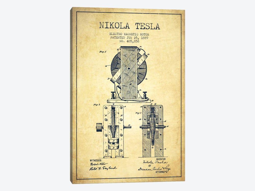 Electro Motor Vintage Patent Blueprint by Aged Pixel 1-piece Canvas Artwork