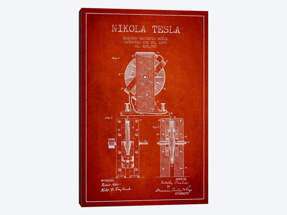 Electro Motor Vintage Red Patent Blueprint by Aged Pixel 1-piece Canvas Artwork