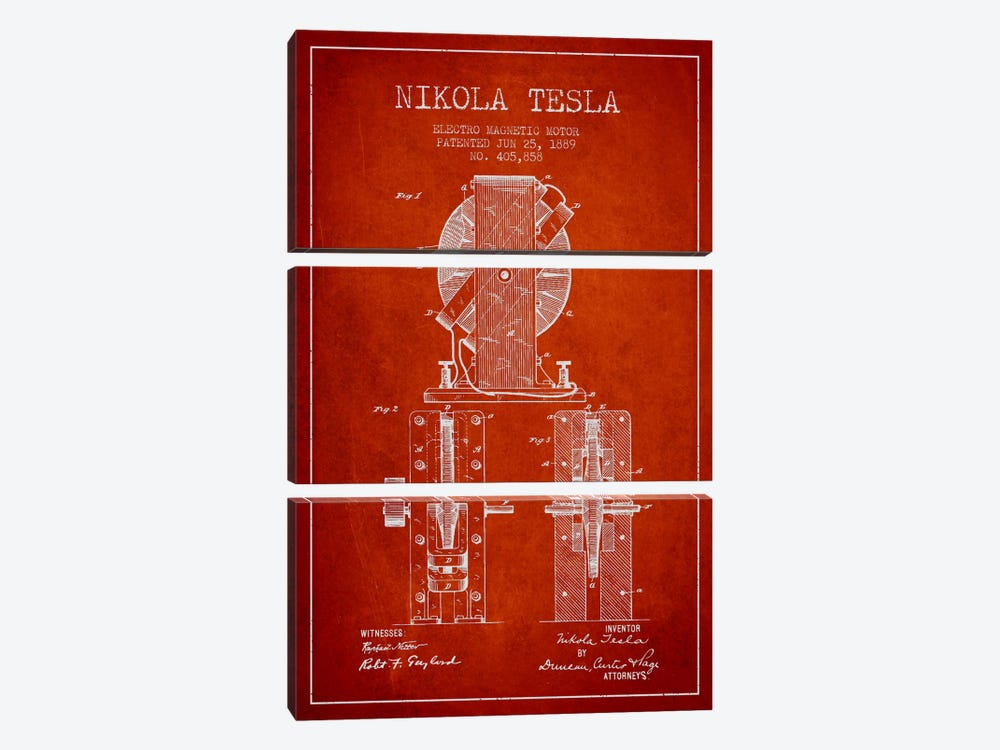 Electro Motor Vintage Red Patent Blueprint by Aged Pixel 3-piece Canvas Wall Art