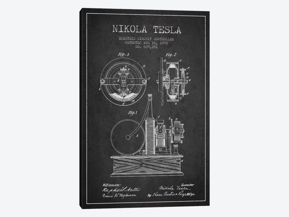 Electric Circuit Charcoal Patent Blueprint 1-piece Art Print