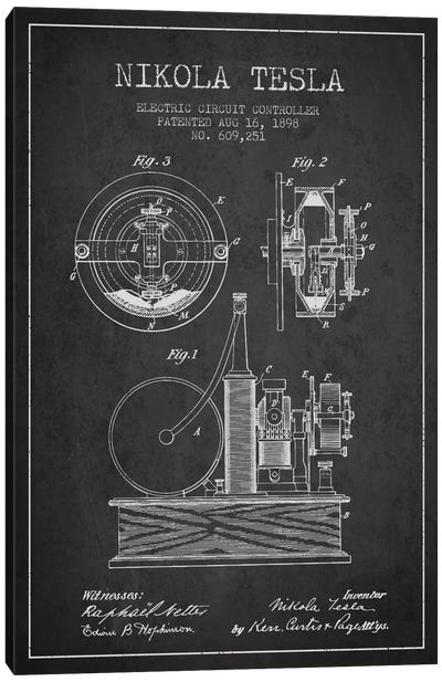 Electric Circuit Charcoal Patent Blueprint Canvas Art Print