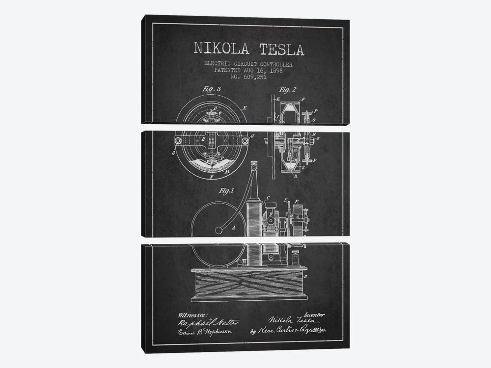 Electric Circuit Charcoal Patent Blueprint by Aged Pixel 3-piece Art Print