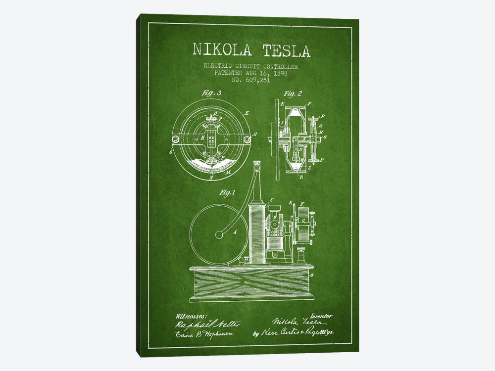 Electric Circuit Green Patent Blueprint by Aged Pixel 1-piece Canvas Wall Art