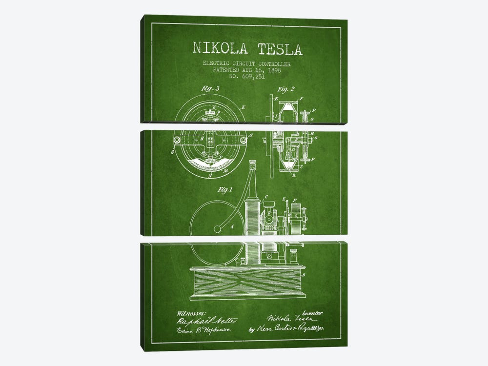 Electric Circuit Green Patent Blueprint by Aged Pixel 3-piece Canvas Artwork