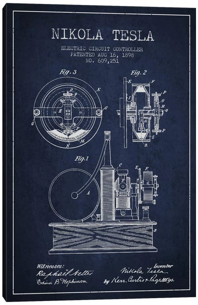 Electric Circuit Navy Blue Patent Blueprint Canvas Art Print