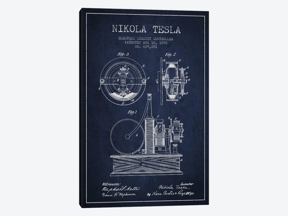 Electric Circuit Navy Blue Patent Blueprint by Aged Pixel 1-piece Canvas Art Print