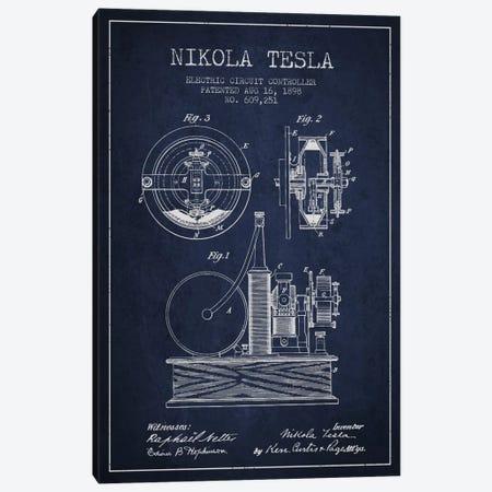 Electric Circuit Navy Blue Patent Blueprint Canvas Print #ADP553} by Aged Pixel Art Print