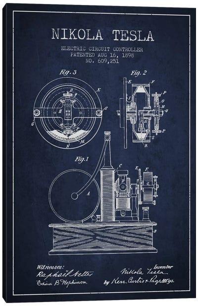 Electric Circuit Navy Blue Patent Blueprint Canvas Art Print