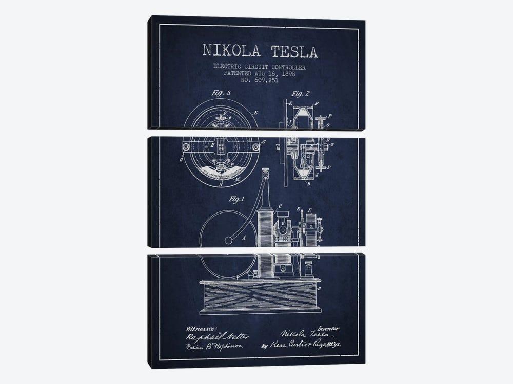 Electric Circuit Navy Blue Patent Blueprint by Aged Pixel 3-piece Canvas Print