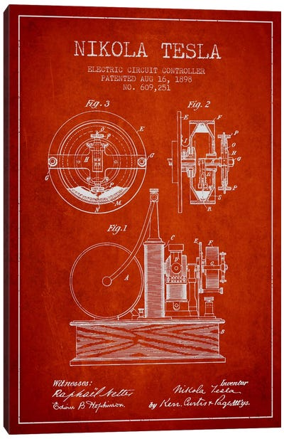 Electric Circuit Red Patent Blueprint Canvas Art Print
