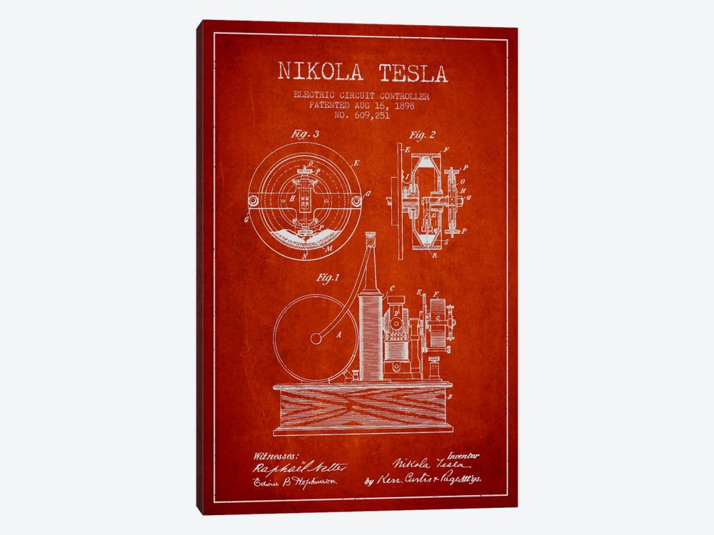 Electric Circuit Red Patent Blueprint by Aged Pixel 1-piece Canvas Artwork