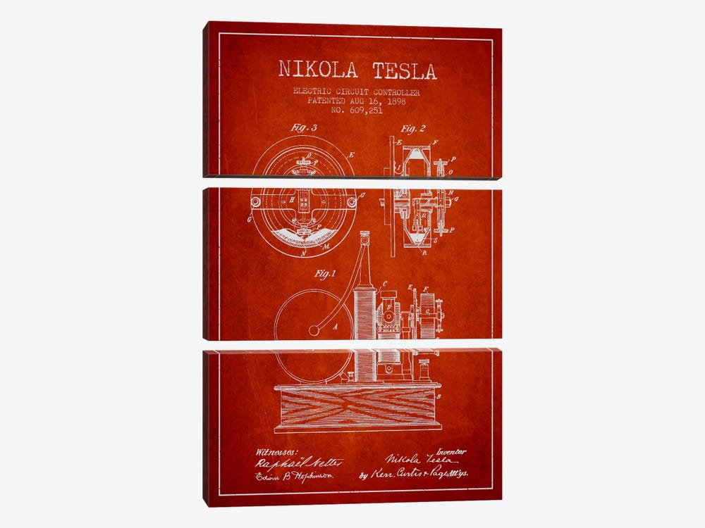 Electric Circuit Red Patent Blueprint by Aged Pixel 3-piece Canvas Art