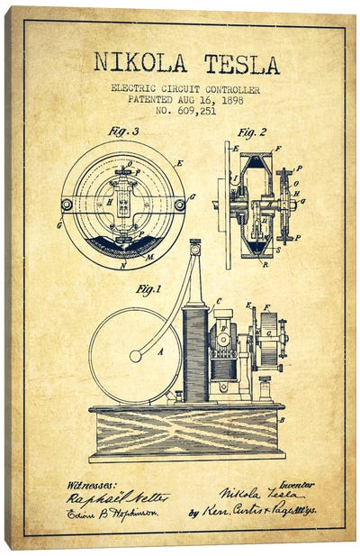 Electric Circuit Vintage Patent Blueprint Canvas Art Print