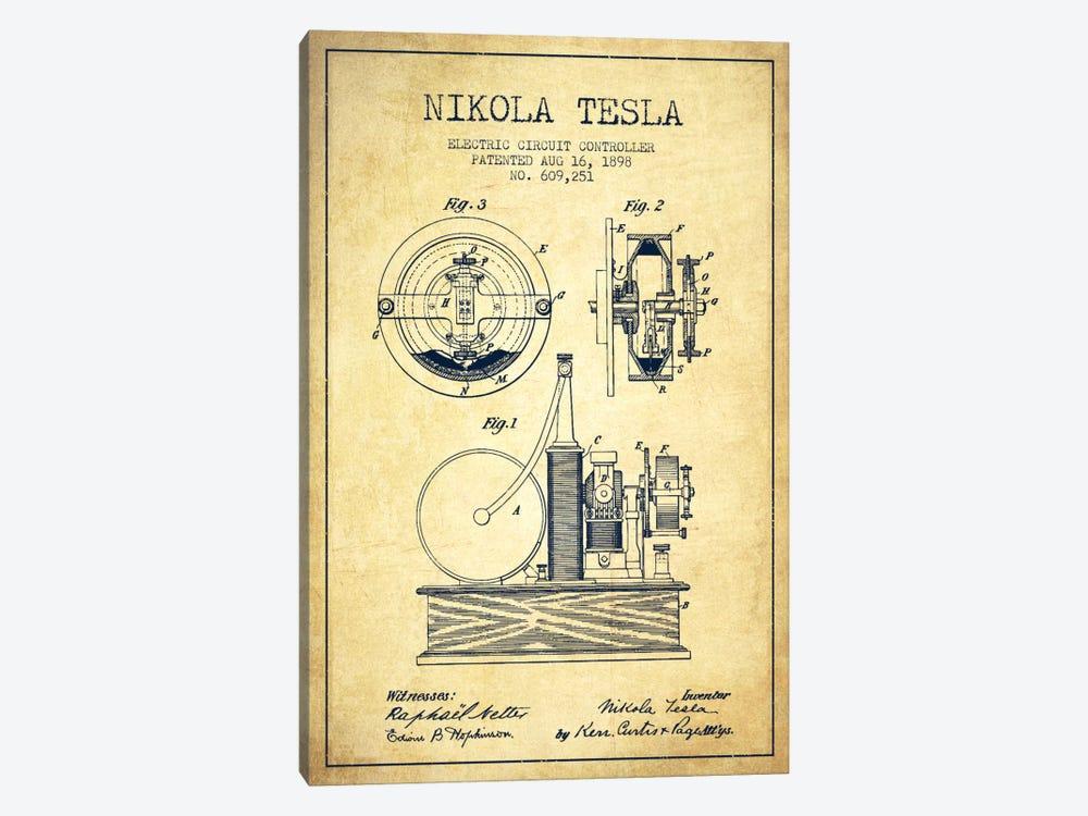 Electric Circuit Vintage Patent Blueprint by Aged Pixel 1-piece Canvas Art Print