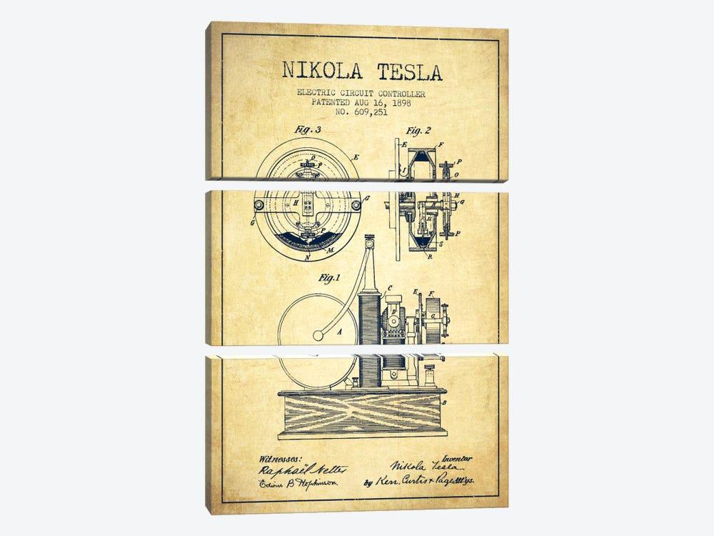 Electric Circuit Vintage Patent Blueprint by Aged Pixel 3-piece Canvas Art Print