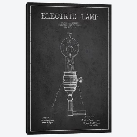 Electric Lamp Charcoal Patent Blueprint Canvas Print #ADP556} by Aged Pixel Canvas Art
