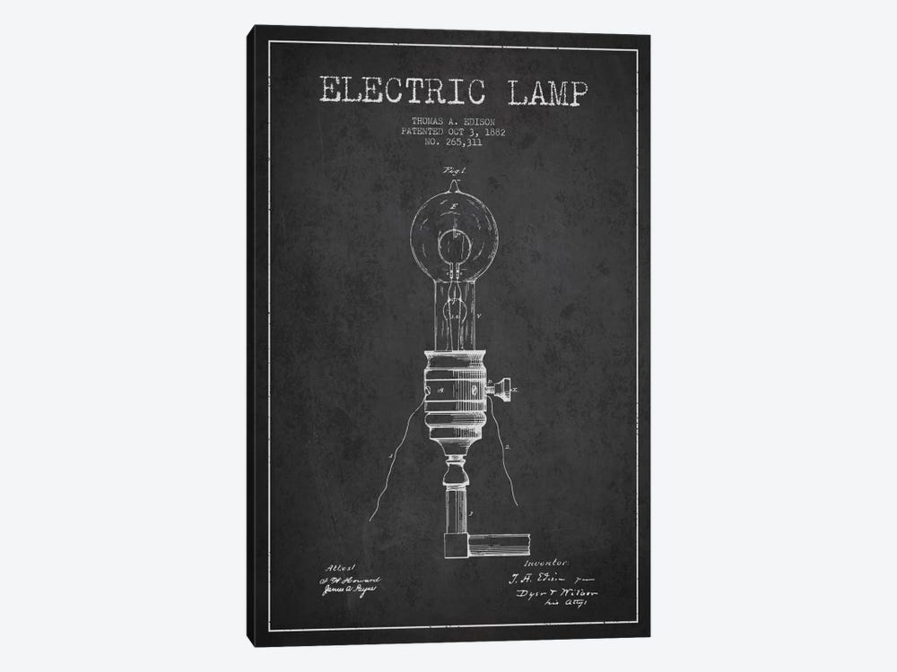 Electric Lamp Charcoal Patent Blueprint by Aged Pixel 1-piece Canvas Wall Art