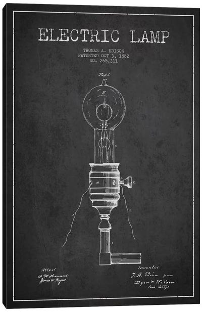 Electric Lamp Charcoal Patent Blueprint Canvas Art Print