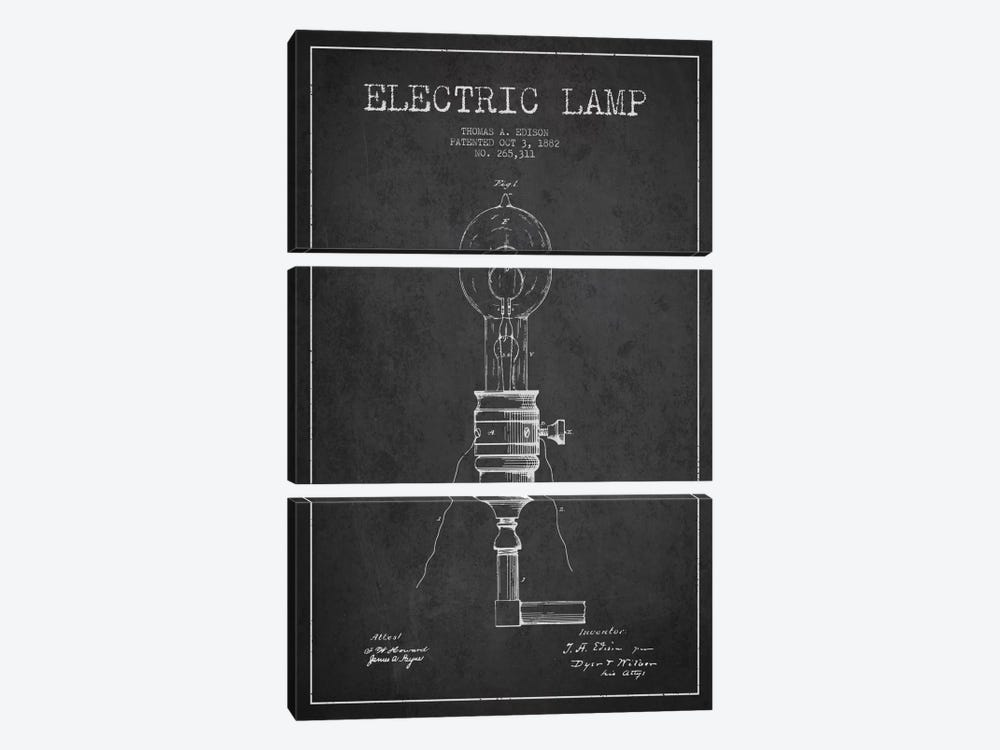 Electric Lamp Charcoal Patent Blueprint by Aged Pixel 3-piece Canvas Artwork