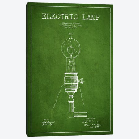 Electric Lamp Green Patent Blueprint Canvas Print #ADP557} by Aged Pixel Canvas Artwork