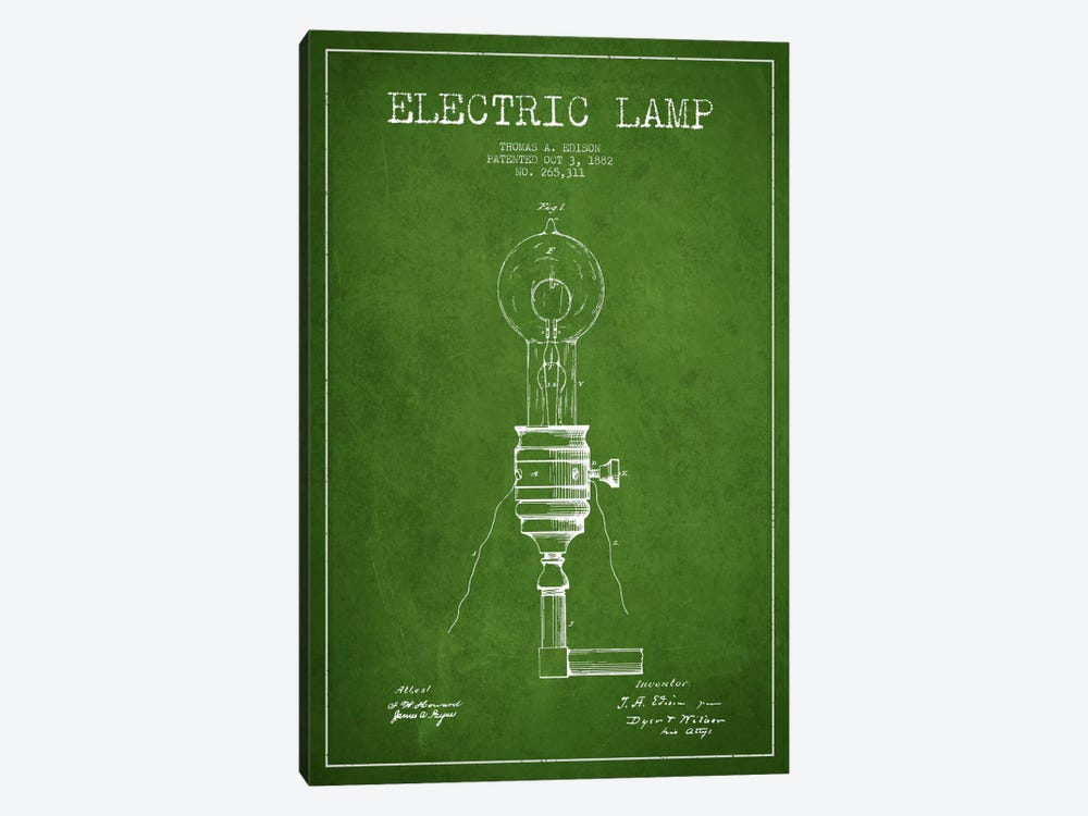 Electric Lamp Green Patent Blueprint by Aged Pixel 1-piece Canvas Print