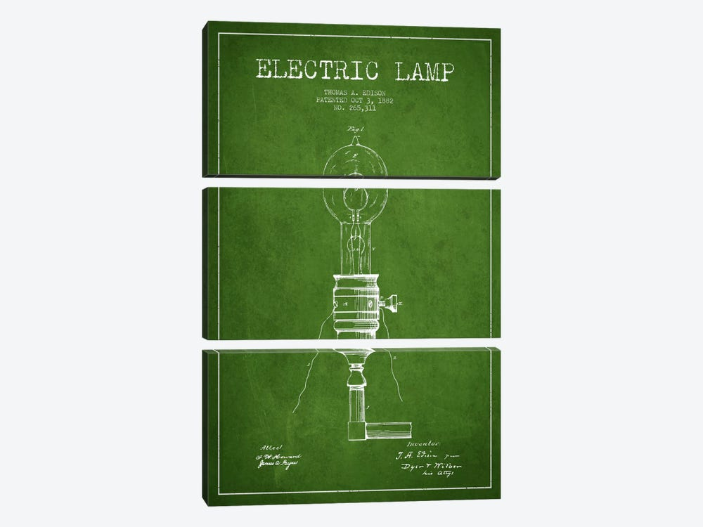 Electric Lamp Green Patent Blueprint by Aged Pixel 3-piece Canvas Art Print