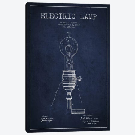 Electric Lamp Navy Blue Patent Blueprint Canvas Print #ADP558} by Aged Pixel Art Print