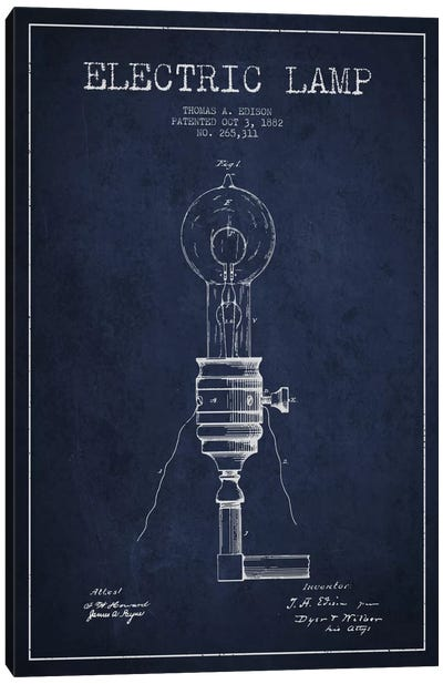 Electric Lamp Navy Blue Patent Blueprint Canvas Art Print