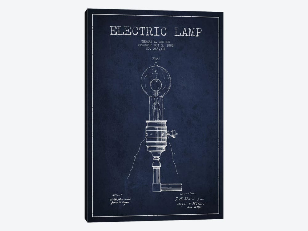 Electric Lamp Navy Blue Patent Blueprint by Aged Pixel 1-piece Canvas Wall Art