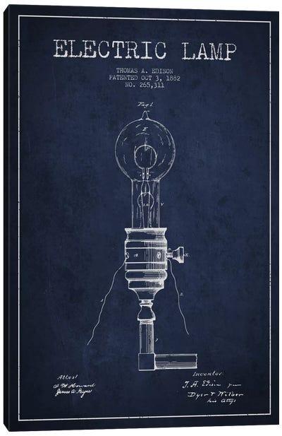 Electric Lamp Navy Blue Patent Blueprint Canvas Art Print
