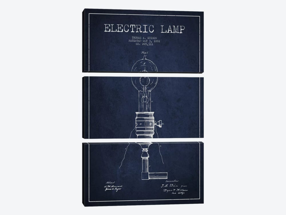 Electric Lamp Navy Blue Patent Blueprint by Aged Pixel 3-piece Canvas Wall Art