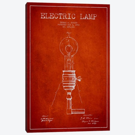 Electric Lamp Red Patent Blueprint Canvas Print #ADP559} by Aged Pixel Canvas Art Print