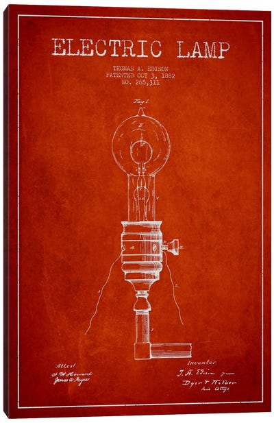 Electric Lamp Red Patent Blueprint Canvas Art Print