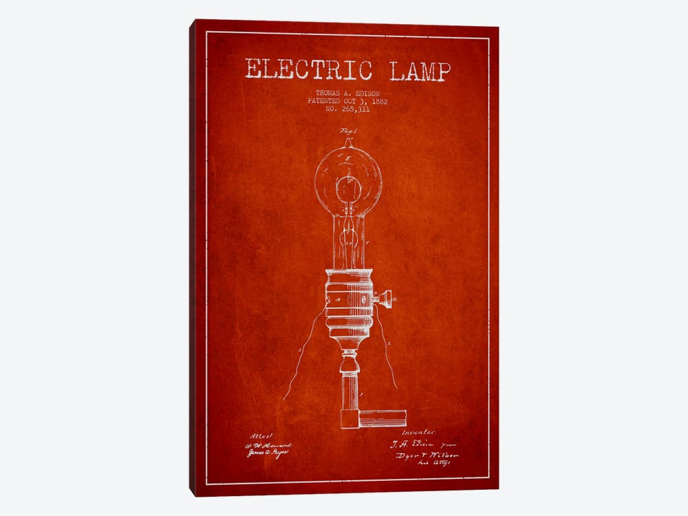 Electric Lamp Red Patent Blueprint by Aged Pixel 1-piece Canvas Print