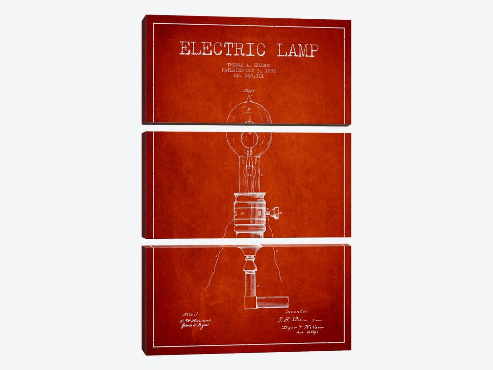 Electric Lamp Red Patent Blueprint by Aged Pixel 3-piece Art Print