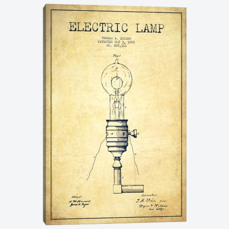 Electric Lamp Vintage Patent Blueprint 3-Piece Canvas #ADP560} by Aged Pixel Canvas Wall Art