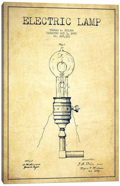 Electric Lamp Vintage Patent Blueprint Canvas Art Print