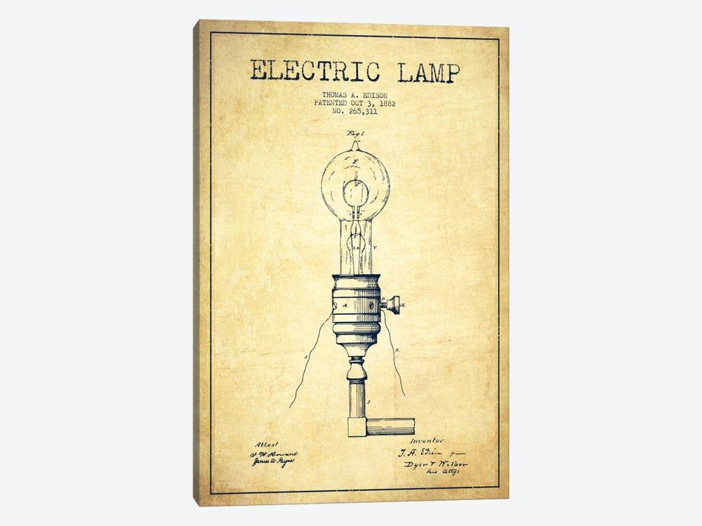 Electric Lamp Vintage Patent Blueprint by Aged Pixel 1-piece Art Print