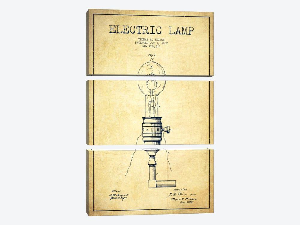 Electric Lamp Vintage Patent Blueprint by Aged Pixel 3-piece Canvas Art Print