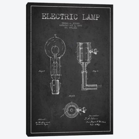 Electric Lamp Charcoal Patent Blueprint Canvas Print #ADP561} by Aged Pixel Canvas Artwork