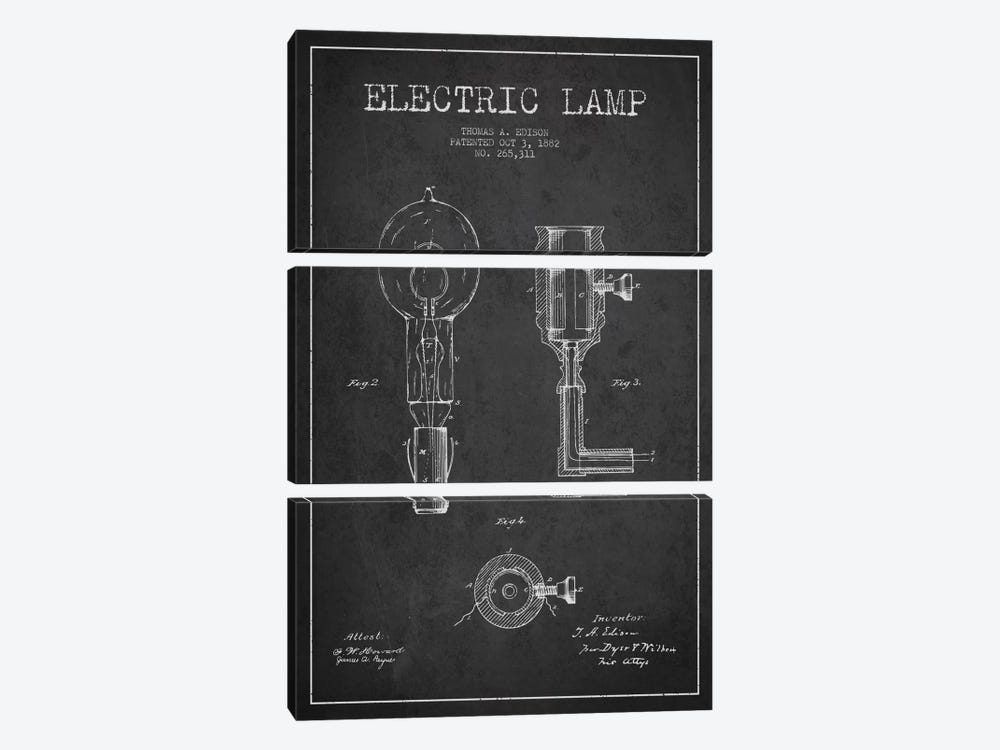 Electric Lamp Charcoal Patent Blueprint by Aged Pixel 3-piece Canvas Wall Art